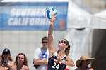 GULF SHORES, AL - MAY 07: Sarah Seiber (24) of  Pepperdine University hits the ball against the University of Southern California during the Division I Women's Beach Volleyball Championship held at Gulf Place on May 7, 2017 in Gulf Shores, Alabama.The University of Southern California defeated Pepperdine 3-2 to claim the national championship. (Photo by Stephen Nowland/NCAA Photos via Getty Images)