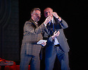 Edinburgh, UK. 09.08.2012. Opera North presents THE MAKROPULOS CASE at the Festival Theatre, as part of the Edinburgh International Festival. Picture shows: James Creswell (as Dr Kolenaty) and Mark le Brocq (as Vitek).