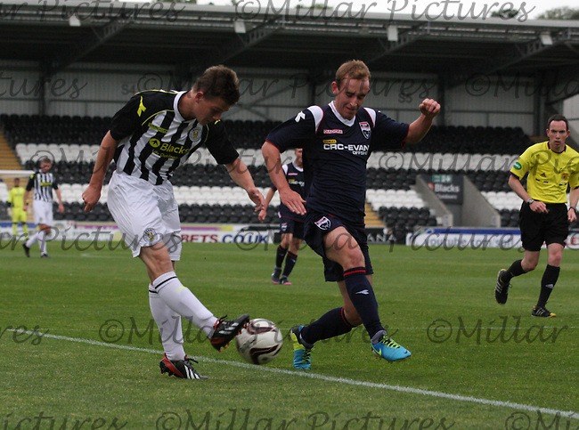 Lewis McLear shooting under pressure from Gordon Finlayson in the St Mirren v Ross County Scottish Professional Football League Under 20 match played at St Mirren Park, Paisley on 13.8.13.