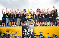 Picture by Alex Broadway/ASO/SWpix.com - 24/07/16 - Cycling - Tour de France 2016 - Stage Twenty-One - Chantilly to Paris Champs-&Eacute;lys&eacute;es - Chris Froome of Great Britain and Team Sky celebrates with teammates after winning the 2016 Tour de France.<br /> NOTE : FOR EDITORIAL USE ONLY. COMMERCIAL ENQUIRIES IN THE FIRST INSTANCE TO simon@swpix.com THIS IS A COPYRIGHT PICTURE OF ASO. A MANDATORY CREDIT IS REQUIRED WHEN USED WITH NO EXCEPTIONS to ASO/ALEX BROADWAY