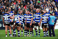 The Bath Rugby team look on during a break in play. Aviva Premiership match, between Bath Rugby and Saracens on December 3, 2016 at the Recreation Ground in Bath, England. Photo by: Patrick Khachfe / Onside Images