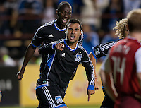 Santa Clara, California - Thursday September 19th, 2012: San Jose Earthquakes' Chris Wondolowski  celebrating after his 21st goal to extend his franchise single season record during a game against Portland Timbers at Buck Shaw Stadium, Stanford, Ca    San Jose Earthquakes and Portland Timbers tied 2-2