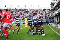 Bath Rugby players celebrate Max Clark's first half try. Aviva Premiership match, between Bath Rugby and Saracens on December 3, 2016 at the Recreation Ground in Bath, England. Photo by: Patrick Khachfe / Onside Images
