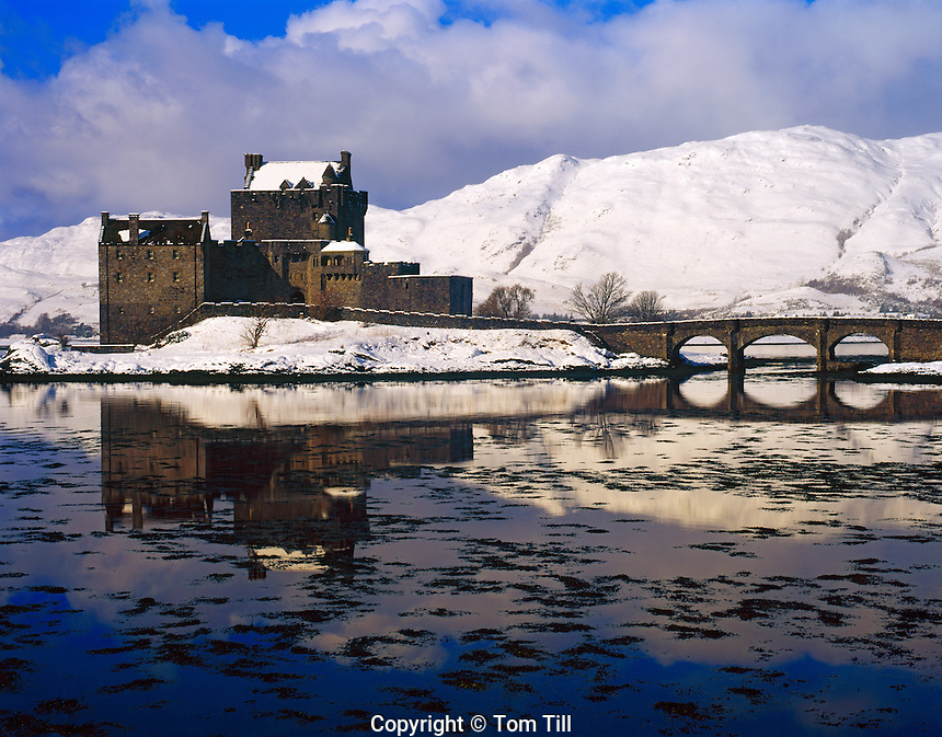 Eilean Donan Castle in Winter, Built in 1230 - Restored in 1912, on Lochs Alsh, Long and Duich, Scotland, United Kingdom