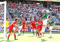 Gerardo Torrado flicks the ball over to Zinha (not pictured) and Zinha scored the third goal for Mexico from this play. Mexico defeated Iran 3-1 during a World Cup Group D match at Franken-Stadion, Nuremberg, Germany on Sunday June 11, 2006.