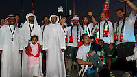 UAE. 4th January 2012. Volvo Ocean Race, Leg 2, arrival into Abu Dhabi. Arrivals ceremony. Highness Sheikh Sultan Bin Tahnoon Al Nahyan, Chairman of Abu Dhabi Tourism Authority with the crew of Groupama Sailing Team.