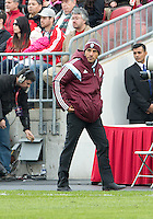Toronto, Ontario - April 12, 2014: Colorado Rapids head coach Pablo Mastroeni watches the action during the 2nd half in a game between the Colorado Rapids and Toronto FC at BMO Field in Toronto.<br />