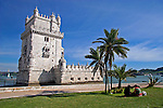 Europe, Portugal, Lisbon. Bel&eacute;m Tower, a UNESCO World Heritage Site in the Belem district of Lisbon.