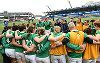 Ireland's Head Coach Tom Tierney gives a team talk to the girls at the end of the game <br /> <br /> Photographer Ian Cook/CameraSport<br /> <br /> Women's Six Nations Round 4 - Wales Women v Ireland Women - Saturday 11th March 2017 - Cardiff Arms Park - Cardiff<br /> <br /> World Copyright &copy; 2017 CameraSport. All rights reserved. 43 Linden Ave. Countesthorpe. Leicester. England. LE8 5PG - Tel: +44 (0) 116 277 4147 - admin@camerasport.com - www.camerasport.com