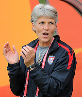 Coach Pia Sundhage of team USA during the FIFA Women's World Cup at the FIFA Stadium in Sinsheim, Germany on July 2nd, 2011.