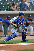 Catcher Nick Dini (31) of the Lexington Legends plays defense in a game against the Columbia Fireflies on Sunday, April 23, 2017, at Spirit Communications Park in Columbia, South Carolina. Lexington won, 4-2. (Tom Priddy/Four Seam Images)