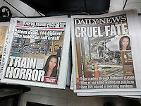 Front pages on Friday, September 30 of the New York newspapers report on the previous days crash of an NJ Transit train in the Hoboken Terminal. (© Richard B. Levine)