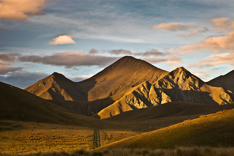 Photo of evening light on hills of Lindis Pass,  Central Otago. Available as canvas & fine art prints.