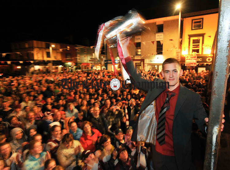 Richie Cummins, captain shows the cup to the crowd at the Victorious Galway Minors All-Ireland homecoming at Gort. Photograph by John Kelly.