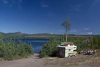 Wilderness Recreational Vehicle RV Camping beside Lake near Atlin, Northern BC, British Columbia, Canada