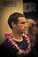 HALEIWA, HI (Thursday Dec. 3, 2009) Ibon Amatriain (EUK)  The opening ceremony of the Quiksilver in Memory of Eddie Aikau was held today at Waimea Bay. This year's event is the 25th Anniversary  and will be held on one day , between December 1, 2009 and February 28, 2010, when the waves eceed the  20 foot  minimum threshold and the 28 invitees will compete for the $98.000 prize purse...The northern hemisphere winter months on the North Shore signal a concentration of surfing activity with some of the best surfers in the world taking advantage of swells originating in the stormy Northern Pacific. Notable North Shore spots include Waimea Bay, Off The Wall, Backdoor, Log Cabins, Rockpiles and Sunset Beach... Ehukai Beach is more  commonly known as Pipeline and is the most notable surfing spot on the North Shore. It is considered a prime spot for competitions due to its close proximity to the beach, giving spectators, judges, and photographers a great view...The North Shore is considered to be one the surfing world's must see locations and every December hosts three competitions, which make up the Triple Crown of Surfing. The three men's competitions are the Reef Hawaiian Pro at Haleiwa, the O'Neill World Cup of Surfing at Sunset Beach, and the Billabong Pipeline Masters. The three women's competitions are the Reef Hawaiian Pro at Haleiwa, the Gidget Pro at Sunset Beach, and the Billabong Pro on the neighboring island of Maui...Photo: Joliphotos.com