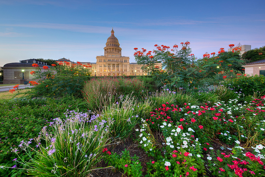 All is quiet on this cool Autumn morning at the State Capitol building in downtown Austin, Texas. Colorful flowers adorn the acreage that surrounds this historic landmark, and along with perfectly manicured rose bushes, trees and shrubs, make this a wonderful place to spend a morning.