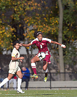 Florida State midfielder Casey Short (3) traps the ball. Florida State University defeated Boston College, 1-0, at Newton Soccer Field, Newton, MA on October 31, 2010.