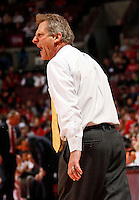 Wyoming Cowboys head coach Larry Shyatt argues a call with the referees during the first half of the NCAA basketball game at Value City Arena in Columbus on Nov. 25, 2013. The Buckeyes won 65-50. (Adam Cairns / The Columbus Dispatch)