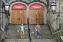 """Edinburgh, UK. 09.08.2016. Flip FabriQue, a Quebecois circus company, who are appearing in """"Attrape Moi!"""" (Catch Me!) perform juggling skills from the show in the courtyard of the Assembly Hall, where they are appearing throughout August. Photograph © Jane Hobson.."""
