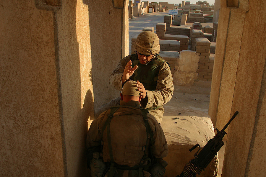 The Marines of the 11th Marine Expeditionary Unit battle the fighters of the Moqtada al-Sadr-led Mehdi Army on the third day of the Battle of Najaf in August, 2004.<br />