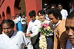 The National League of Democracy (NLD) head, Pro-democracy leader Aung San Suu Kyi leaves after registering to run in a by-election, for the  parliamentary seat in Kawhmu, in polls on April 1st, 2012. Thanlynn Electoral Commission Office, Januaray 18, 2012....