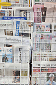 International Newspaper stand in Hampstead High street. On display are the International Herald Tribune, The Wall street Journal,Frankfurter Algemeine, Die Welt, El Pais, The Irish Times and De Telegraaf.
