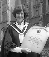Jill Minford, Belfast, N Ireland, who graduated in Medicine from Queen's University, Belfast, June 1977. Amateur tennis champion, member, Windsor Lawn Tennis Club. 197706000149JM<br />