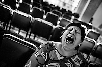 A Mexican woman yells desperately during the exorcism rite performed at the Church of the Divine Saviour in of Mexico City, Mexico, 31 May 2011. Exorcism is an ancient religious technique of evicting spirits, generally called demons or evil, from a person which is believed to be possessed. Although the formal catholic rite of exorcism is rarely seen and must be only conducted by a designated priest, there are many Christian pastors and preachers (known as 'exorcistas') performing exorcism and prayers of liberation. Using their strong charisma, special skills and religous formulas, they command the evil spirit to depart a victim's mind and body, usually invoking Jesus Christ or God to intervene in favour of a possessed person.