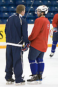Tom Ward (USA - Assistant Coach), Kyle Palmieri (USA - 23) - Team USA practices the morning of Thursday, December 31, 2009, at the Credit Union Centre in Saskatoon, Saskatchewan, during the 2010 World Juniors tournament.
