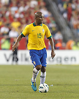 Brazil defender Maicon (15) looks to pass. In an international friendly, Brazil (yellow/blue) defeated Portugal (red), 3-1, at Gillette Stadium on September 10, 2013.
