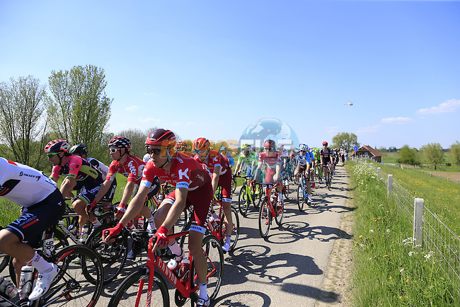 The peloton atop a dike during Stage 2 of the 2016 Giro d'Italia running 190km from Arnhem to Nijmegen, The Nethrerlands. 7th May 2016.<br /> Picture: Eoin Clarke | Newsfile<br /> <br /> <br /> All photos usage must carry mandatory copyright credit (&copy; Newsfile | Eoin Clarke)
