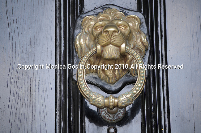 A black door with a gold knocker in the shape of a lion's head in Beacon Hill in Boston, MA.