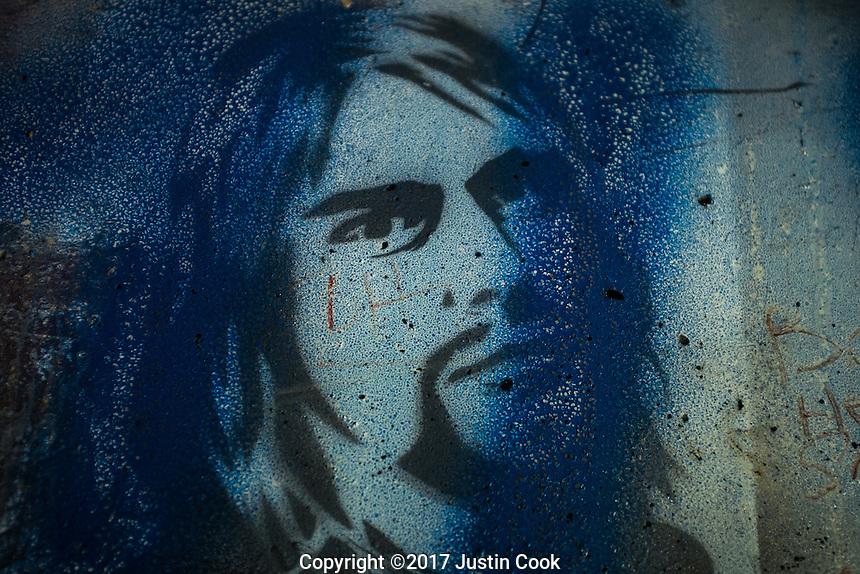 Kurt Cobain Memorial Park at the Young Street bridge where Kurt Cobain used to sleep as a teenager in his hometown of Aberdeen, WA on Saturday, June 10, 2017. (Justin Cook)