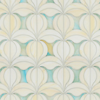Calla, a jewel glass waterjet mosaic shown in Quartz and Aquamarine, is part of the Miraflores Collection by Paul Schatz for New Ravenna Mosaics.