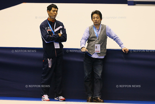 (L to R) <br />  Hisashi Mizutori (JPN), <br /> Hiroyuki Kato, <br /> APRIL 3, 2014 - Artistic Gymnastics : <br /> FIG ART World Cup 2014 Tokyo <br /> official practice session <br /> at Tokyo Metropolitan Gymnasium, Tokyo, Japan. <br /> (Photo by YUTAKA/AFLO SPORT)
