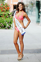 17/9/2010. Miss Ireland contestants. Miss Dublin East is pictured at St Stephens Green. the 35 Miss Ireland contestants officially unveiled in their swimwear and sashes for the 1st time at Stephen's Green Shopping Centre,  Dublin. Picture James Horan/Collins Photos