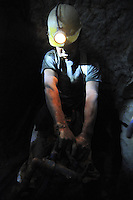 Drunk miner in silver mine, Potosi, Bolivia