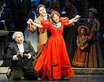 2002 - LA BOHEME - Musetta (Anita Johnson) sings the famous 'Quando m'en vo' as Alcindoro (Andrew Fernando - left) and Marcello (Frank Hernandez) look on in Opera Pacific's production of La Boheme.