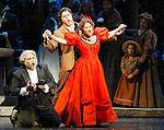 2002 - LA BOHEME - Musetta (Anita Johnson) sings the famous 'Quando m'en vo' as Alcindoro (Andrew Fernando - left) and Marcello (Frank Hernandez) look on in Opera Pacific's production of La Boheme.
