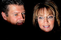 ATLANTA, GA-August 9, 2010: Former Alaska Governor and Vice President candidate Sarah Palin and her husband Todd Palin at a rally for Georgia Republican governor candidate Karen Handel at the Intercontinental Hotel in Buckhead.