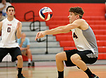 Cheshire, CT- 18 May 2017-051817CM11-  <br /> Cheshire's Luca Bregoli bumps the ball during their SCC volleyball matchup against Xavier on Thursday.  Christopher Massa Republican-American