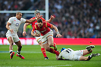 George North of Wales takes on the England defence. RBS Six Nations match between England and Wales on March 12, 2016 at Twickenham Stadium in London, England. Photo by: Patrick Khachfe / Onside Images