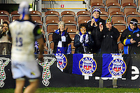 Bath Rugby supporters cheer on their team after the match. Aviva Premiership match, between Harlequins and Bath Rugby on March 11, 2016 at the Twickenham Stoop in London, England. Photo by: Patrick Khachfe / Onside Images