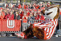 The  University of Wisconsin Badger mascot, Bucky Badger, entertains his fans at the  Santa Monica Pier during their official Rose Bowl Pep Rally   on Thursday, December 30, 2010