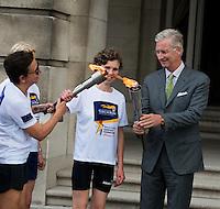 King Philippe of Belgium receives the Olympics flame - Belgium