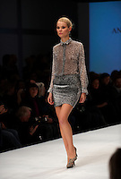 Model on the catwalk wearing creation by Anders Berggren (Beckmans Designhogskola). &quot;Designers Nest Show and Award&quot; at the fashion fair &quot;CPH Vision&quot; in Oksnehallen. Copenhagen Fashion Week.<br /> February 2009.<br /> Only for editorial use.