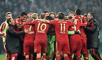 FUSSBALL   DFB POKAL   SAISON 2011/2012   HALBFINALE   21.03.2012 Borussia Moenchengladbach - FC Bayern Muenchen  SCHLUSSJUBEL FC Bayern Muenchen;  Teamjubel