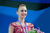 ANNA RIZATDINOVA of Ukraine receives crown and bronze medal in AA at 2016 European Championships at Holon, Israel on June 18, 2016.