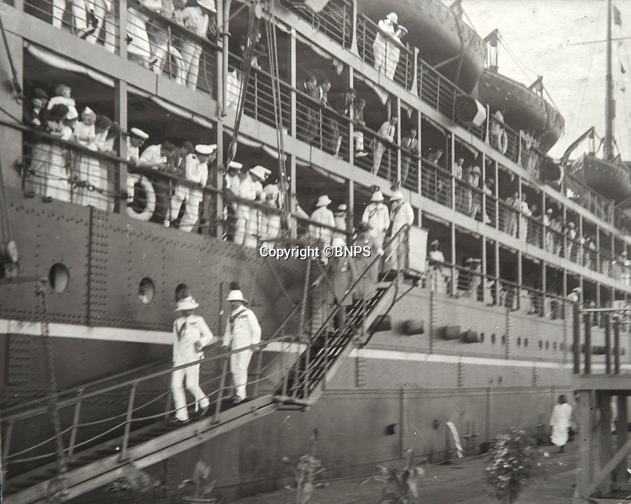 BNPS.co.uk (01202 558833)<br /> Pic: PhilYeomans/BNPS<br /> <br /> Passage to India - Viscount Goschen arriving in Madras on the SS Madura in 1924 to become Governor.<br /> <br /> Last Days of the Raj - A fascinating family album from one of the last Viceroy's of India reveal Britain's 'Jewel in the Crown' in all its splendour.<br /> <br /> The family album of Viscount George Goschen has been unearthed after 90 years, and provide's an amazing snapshot of the pomp and pageantry of a wealthy and powerful British family in India in the 1920s and 30's.<br /> <br /> They show the Governor of Madras and his family enjoying a lavish lifestyle of parades, banquets and hunting and horse racing in the last decades of the Raj.<br /> <br /> At the time, Gandhi was organising peasants, farmers and labourers to protest against excessive land-tax and discrimination. <br /> <br /> The album consists of some 300 large photographs. They have remained in the family for 90 years but have now emerged for auction following a house clearance and are tipped to sell for &pound;200.